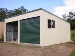 green skillion monoslope shed